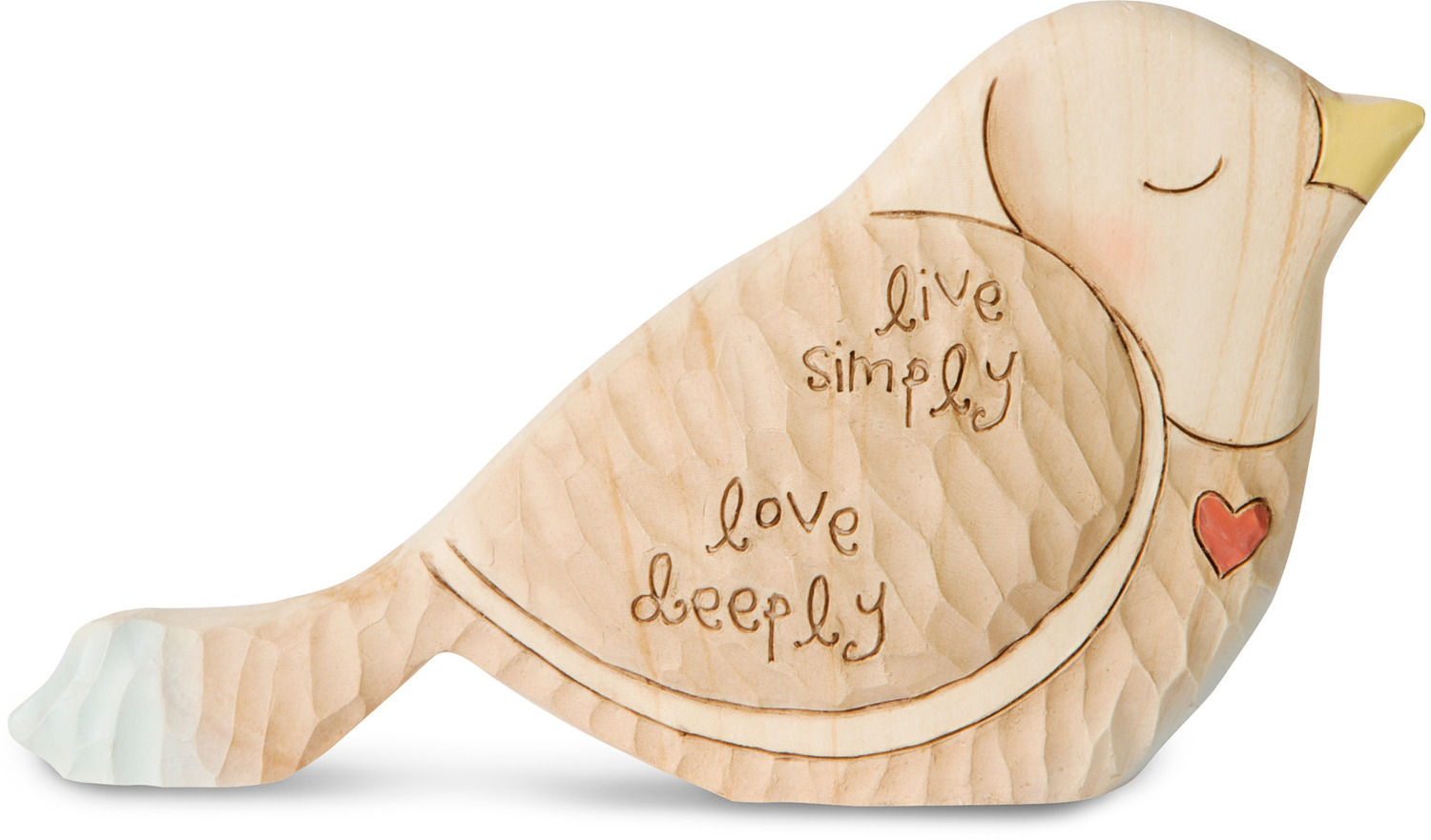 "Live Simply  by Heavenly Woods - Live Simply  - 3"" Painted Bird Figurine/Carving"