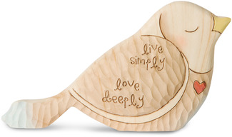"Live Simply  by Heavenly Woods - 3"" Painted Bird Figurine/Carving"