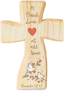 "Friend by Heavenly Woods - 5"" Self-Standing Cross"