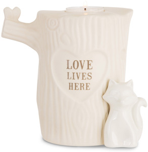 "Love Lives Here by Heavenly Woods - 5.5"" Candle Holder"