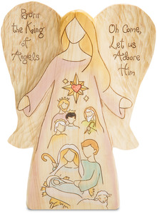 "King of Angels by Heavenly Woods - 10"" Angel with Nativity Scene"