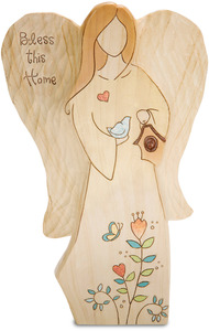 "Bless this Home by Heavenly Woods - 9"" Angel with Birdhouse"