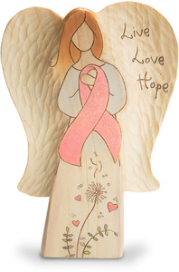 "Live Love Hope by Heavenly Woods - 7"" Angel with Pink Ribbon"