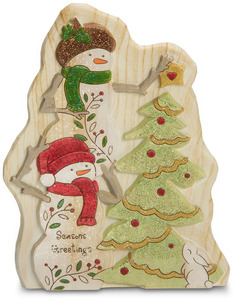 "Seasons Greetings by Heavenly Winter Woods - 7"" Snowmen & Christmas Tree Figurine/Carving"