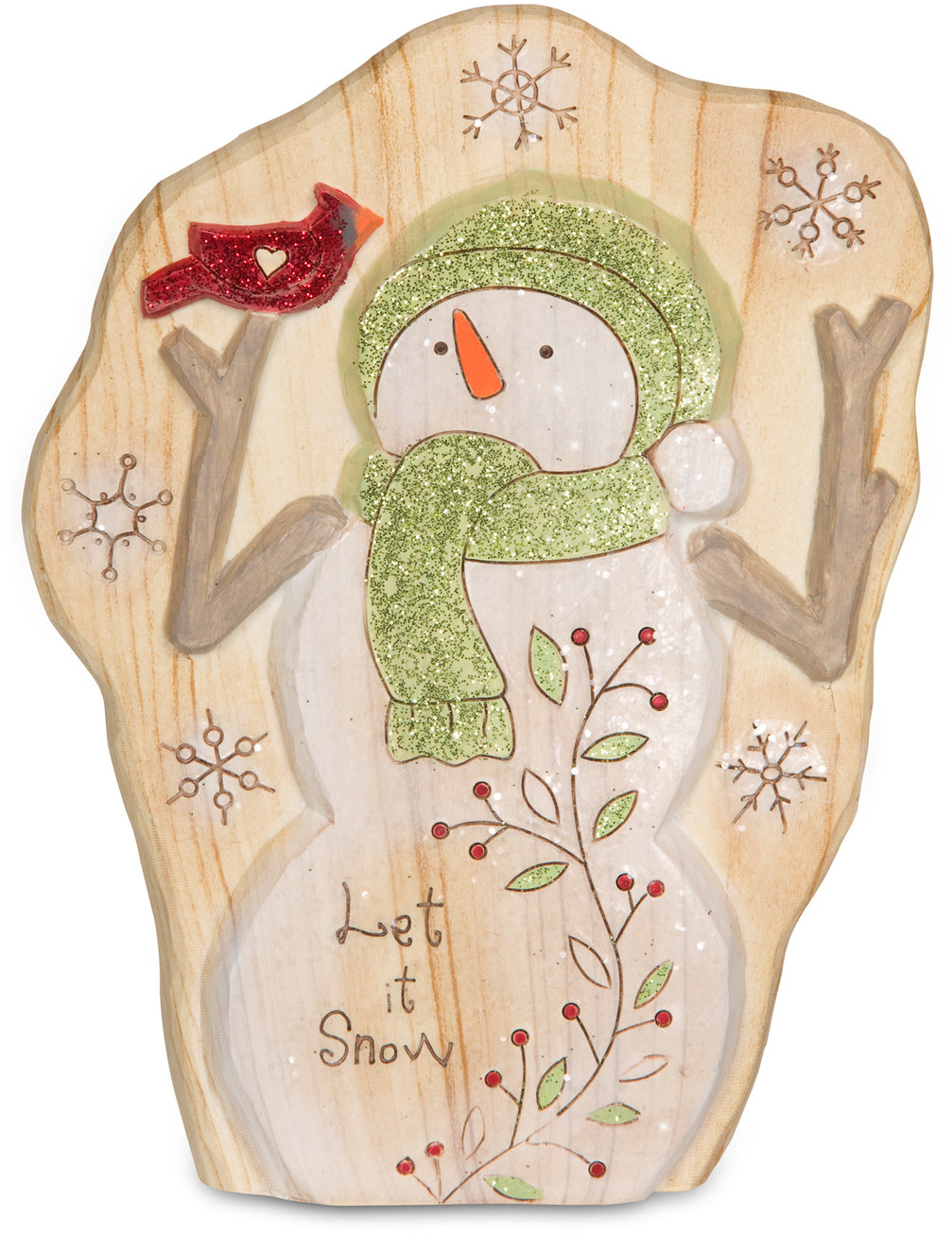 "Let it Snow by Heavenly Winter Woods - Let it Snow - 7"" Snowman & Cardinal Figurine/Carving"
