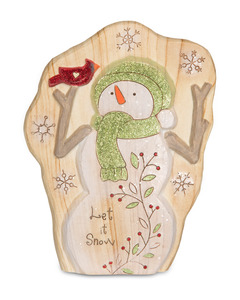 "Let it Snow by Heavenly Winter Woods - 7"" Snowman & Cardinal Figurine/Carving"