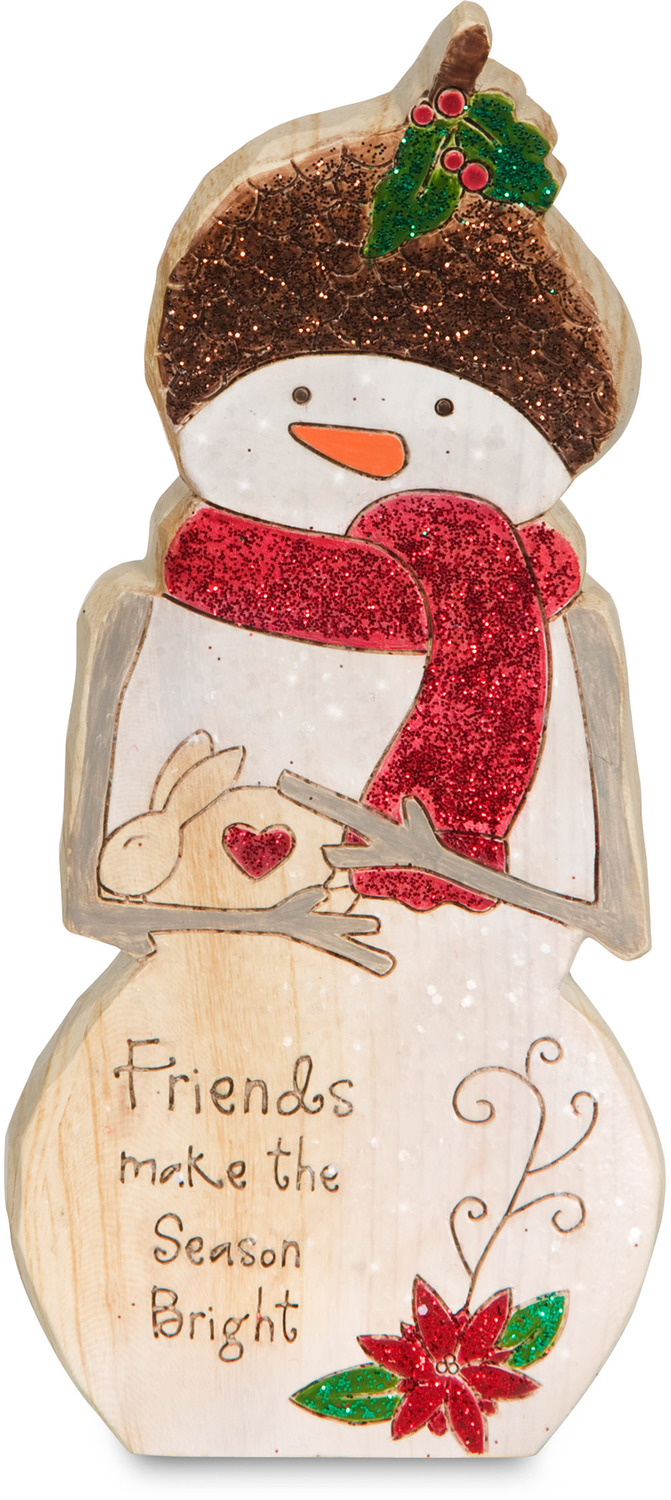 "Friends by Heavenly Winter Woods - Friends - 6"" Snowman & Bunny Figurine/Carving"