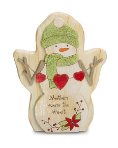 "Mother by Heavenly Winter Woods - 6"" Snowman w/ Hearts Figurine/Carving"
