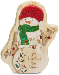 "Light up the Season by Heavenly Winter Woods - 5"" Painted Snowman w/ Lights Figurine/Carving"