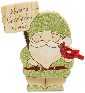 "Merry Christmas by Heavenly Winter Woods - 4.5"" Santa Gnome & Cardinal Figurine/Carving"