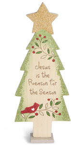 "Jesus is the Reason by Heavenly Winter Woods - 9"" Self-Standing Tree"