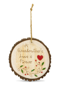 "Grandmother by Heavenly Winter Woods - 4"" Painted Round Ornament"