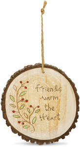 "Friend by Heavenly Winter Woods - 4"" Painted Round Ornament"
