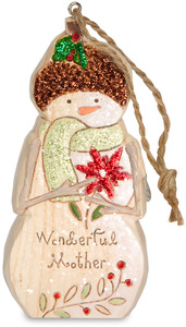 "Mother  by Heavenly Winter Woods - 4"" Snowman & Poinsettia Ornament"