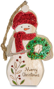 "Merry Christmas by Heavenly Winter Woods - 4"" Snowman Ornament with Wreath"