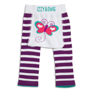 Purple and White Butterfly by Izzy & Owie - 6-12 Month Baby Leggings