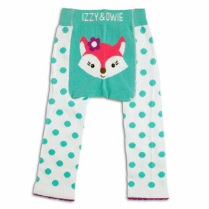 Aqua and White Fox by Izzy & Owie - 6-12 Month Baby Leggings