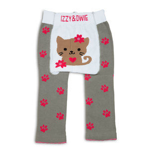 Pink and Gray Kitty by Izzy & Owie - 6-12 Month Baby Leggings