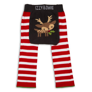 Red and White  Reindeer by Izzy & Owie - 6-12 Month Baby Leggings