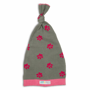 Pink and Gray Paws by Izzy & Owie - 0-12 Month Baby Hat