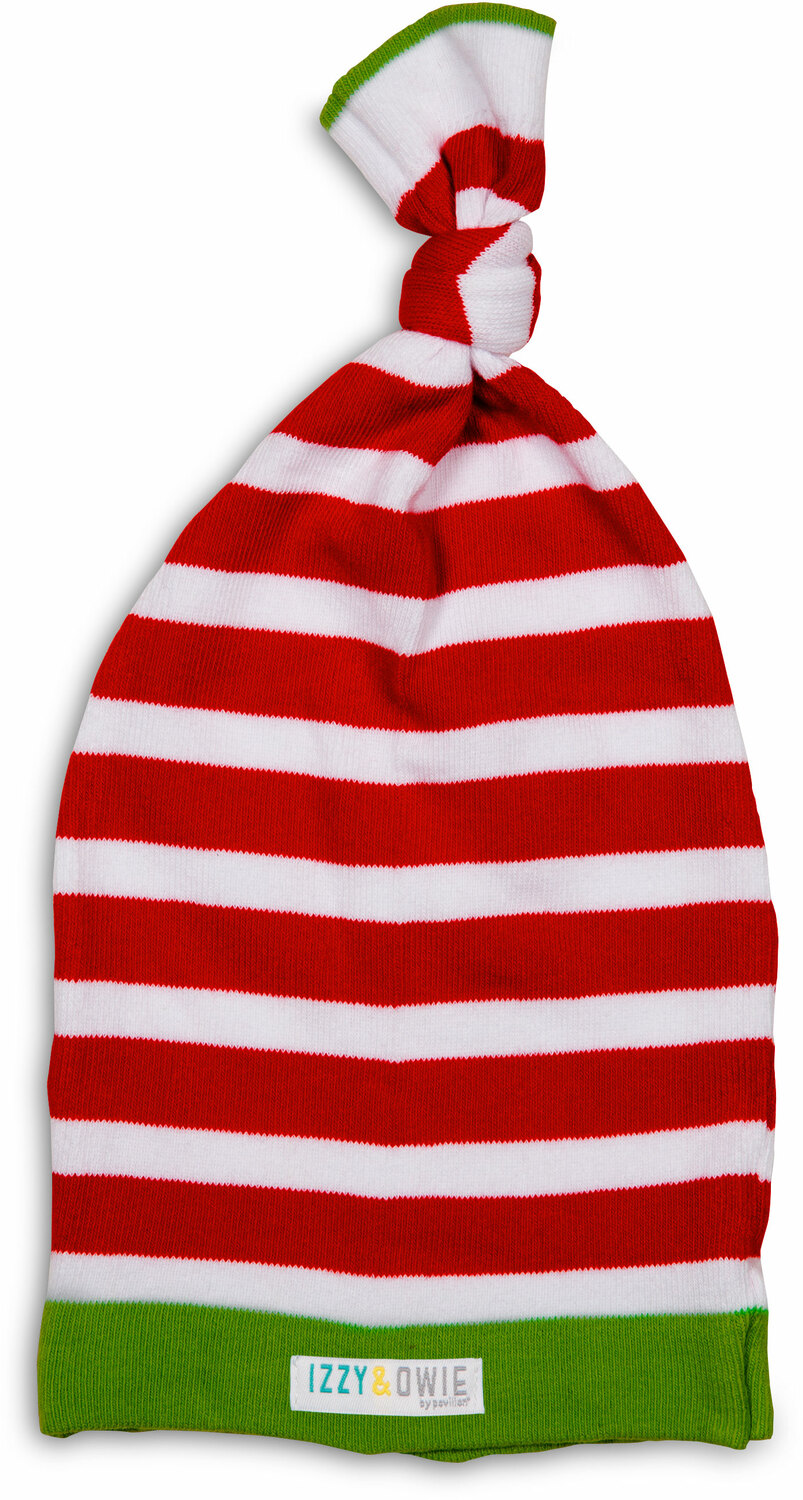 Red and White Stripe by Izzy & Owie - <em>Reindeer</em> - Cozy Adjustable White Baby Hat, 0-12 m -