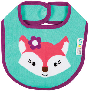 Aqua and Pink Fox by Izzy & Owie - Baby Bib
