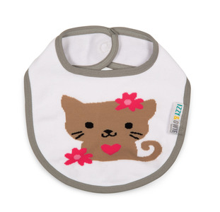 Pink and Gray Kitty by Izzy & Owie - Baby Bib