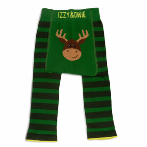 Forest Green Moose by Izzy & Owie - 6-12 Months Baby Leggings