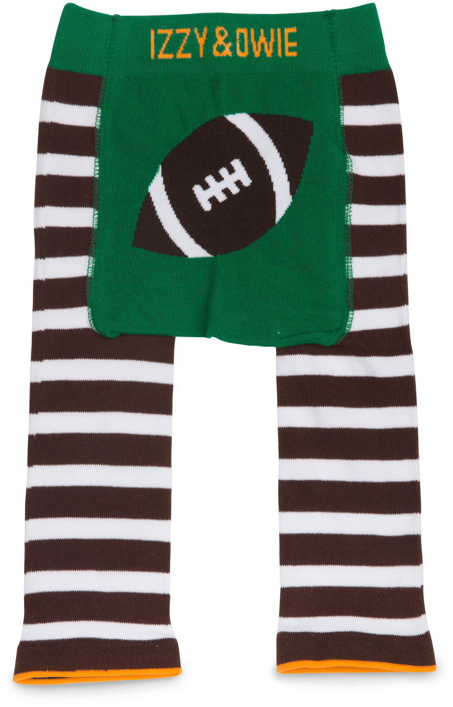 Green and Brown Football by Izzy & Owie - Green and Brown Football - 6-12 Months Baby Leggings