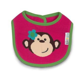 Pink and Green Monkey by Izzy & Owie -  Baby Bib
