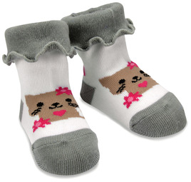 Pink and Gray Kitty by Izzy & Owie - 0-12 Socks
