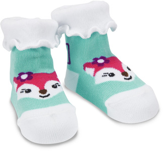 Aqua and White Fox by Izzy & Owie - 0-12 Socks
