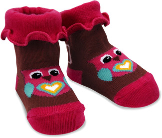 Pink and Brown Owl by Izzy & Owie - 0-12 Socks
