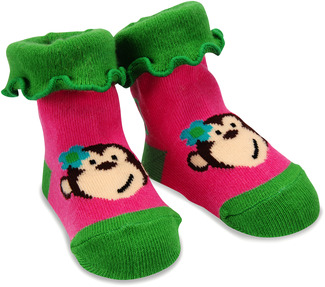 Pink and Green Monkey by Izzy & Owie - 0-12 Socks