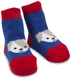 Red and Blue Puppy by Izzy & Owie - 0-12 Socks