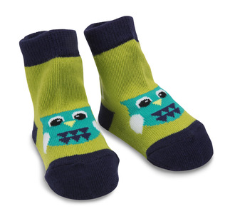 Green and Navy Owl by Izzy & Owie - 0-12 Socks