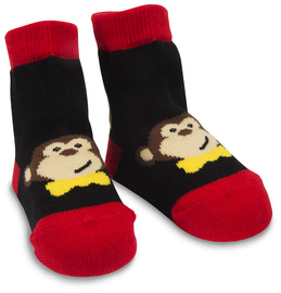 Red and Black Monkey by Izzy & Owie - 0-12 Socks