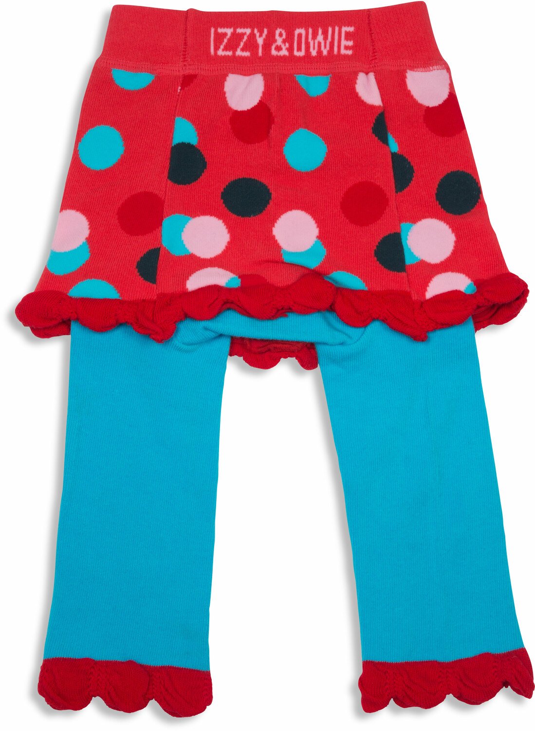 29a762be5 Coral and Blue Polka Dot, 6-12 Months Skirted-Leggings - Izzy & Owie ...