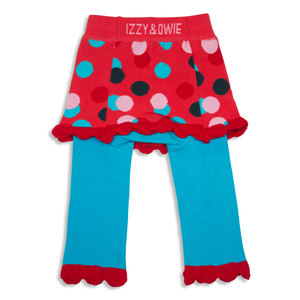 Coral and Blue Polka Dot by Izzy & Owie - 6-12 Months Skirted-Leggings