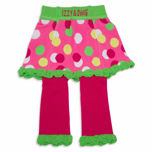 Lime Green and Pink Polka Dot by Izzy & Owie - 12-24 Months Skirted-Leggings