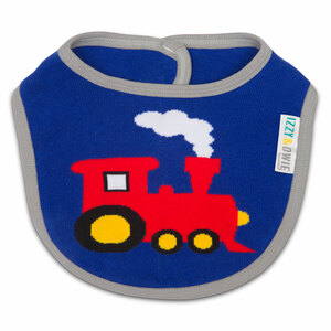 Red and Blue Train by Izzy & Owie -  Baby Bib