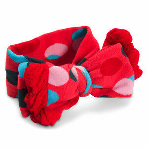 Coral and Blue Polka Dot by Izzy & Owie - Ruffled Knitted Headband