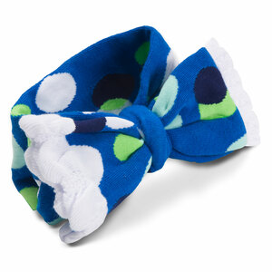 White and Navy Polka Dot by Izzy & Owie - Ruffled Knitted Headband