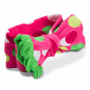 Lime Green and Pink Polka Dot by Izzy & Owie - Ruffled Knitted Headband