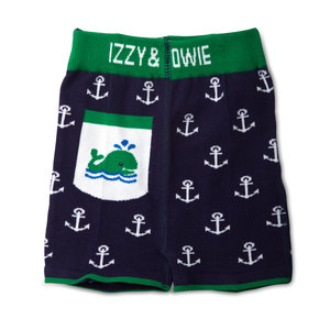 Blue and Green Whale by Izzy & Owie - 6-12 Months Baby Shorts