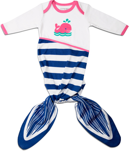Blue and Pink Whale by Izzy & Owie - 0-9 Months Knotted Onesie