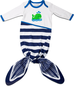 Navy and White Whale by Izzy & Owie - 0-9 Months Knotted Onesie