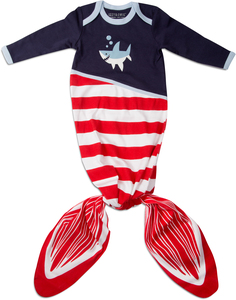 Red and Navy Shark by Izzy & Owie - 0-9 Months Knotted Onesie
