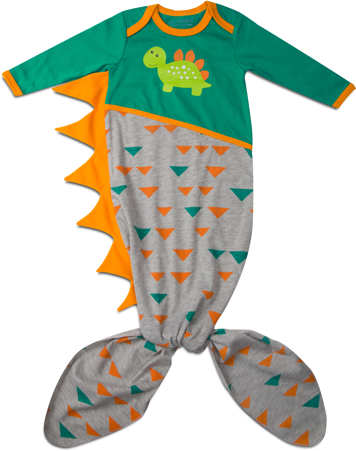 Teal and Gray Dino by Izzy & Owie - Teal and Gray Dino - 0-9 Months Knotted Onesie