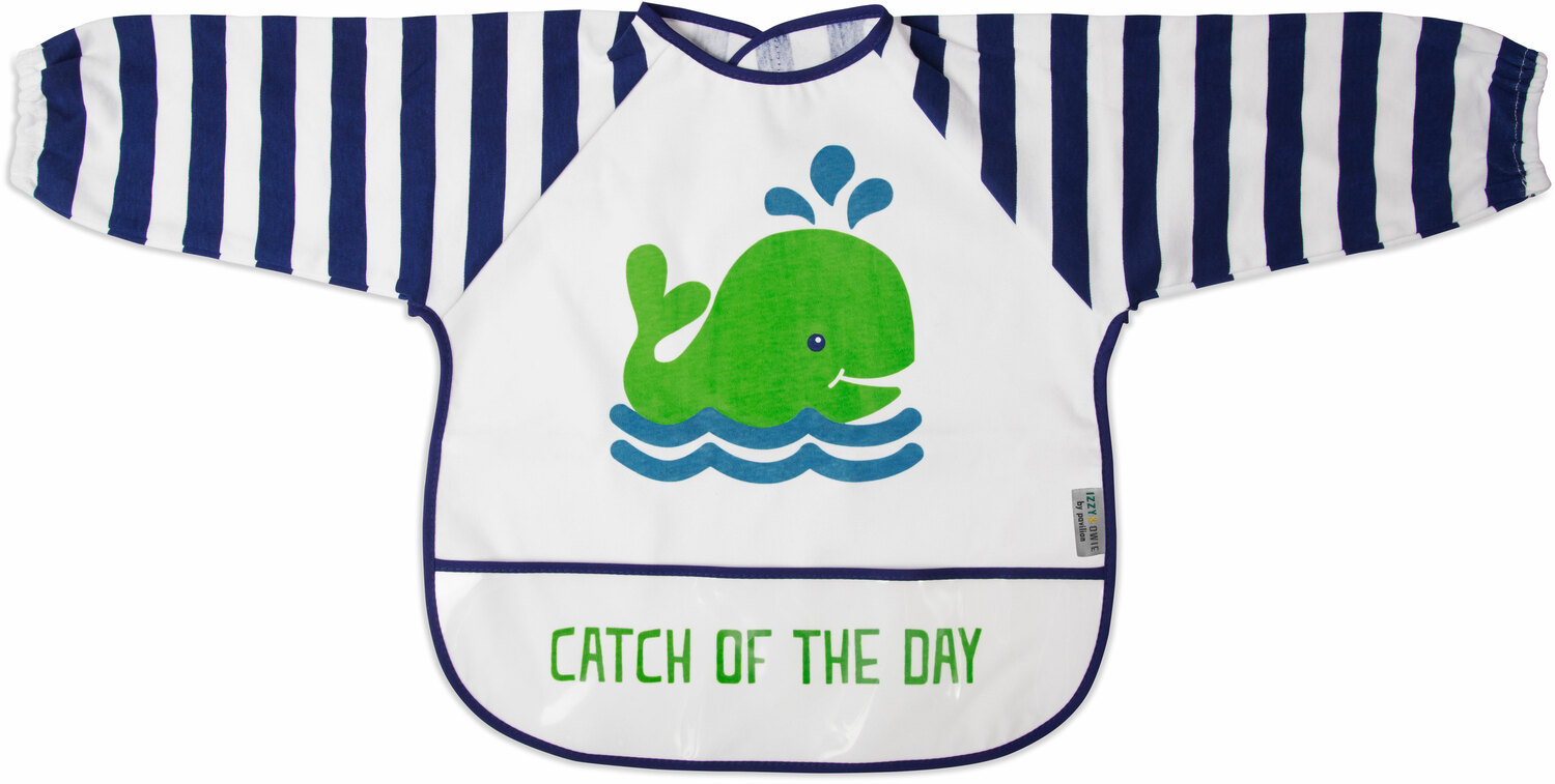 Navy and White Whale by Izzy & Owie - Navy and White Whale - One Size Fits All Toddler Smock